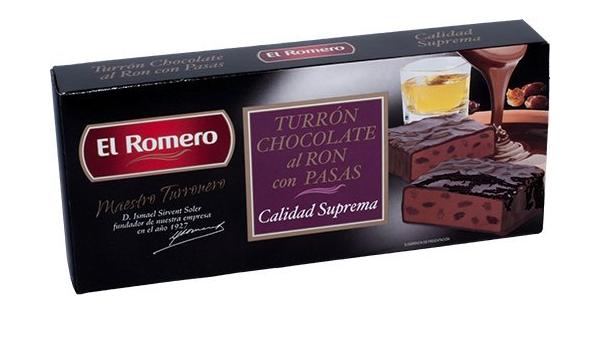 Turrones El Romero CHOCOLATE RON CON PASAS 200g. EL ...