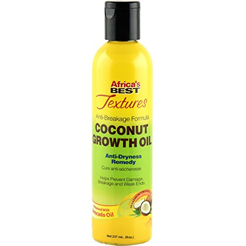 Africa's Best Textures Coconut Growth Oil, Anti-Dryness Oil Hair Therapy, Improves Weak Ends and Enhances Growth, 8 Fluid -