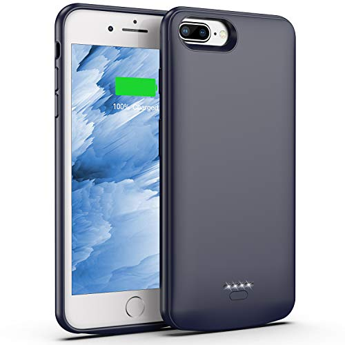 Battery Case for iPhone 8 Plus/7 Plus, 5500mAh Slim Portable Charger Case Extend 150% Battery Life, Protective Backup Charging Case Compatible with iPhone 8 Plus/7 Plus (Gray)