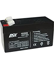 DSK 10322-12V 1.3Ah Sealed Rechargeable AGM Lead Acid Battery. Ideal for home and industry alarms, electric scooters, electric toys, fences, scales