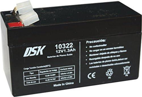 DSK 10322 - Batería Plomo Acido 12V 1,3 Ah, Negro. Ideal para alarmas de hogar, Juguetes electricos, cercados, balanzas.