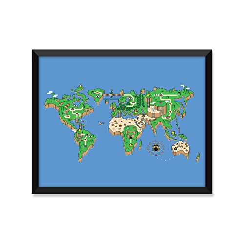 Mario Brothers Nintendo World Map, Modern Illustration, Minimalist Poster, Home Decor, College Dorm Room Decorations, Wall Art]()