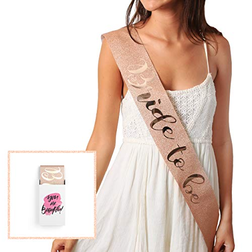 Glitter  Rose Gold Bride to Be Sash - Bride Tribe Bachelorette Sash | Bachelorette Party Favors- Bridesmaid Sashes | Wedding Bridal Shower Gifts & Games | Engagement Party Decorations Supplies -