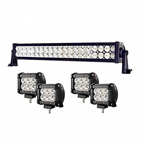 Enk 20 Inch 120W LED Work Light Bar Flood Spot Combo Beam Waterproof for Jeep Off-road SUV Ford Pickup Camper Boat Truck with 4 Pcs 4 Inch 18W - Mustang Dual Pod
