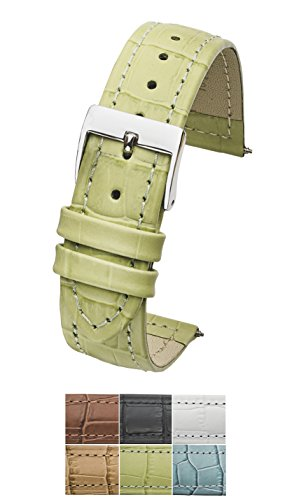 Genuine Leather in Alligator grain watch band - 14mm -Lemon Green