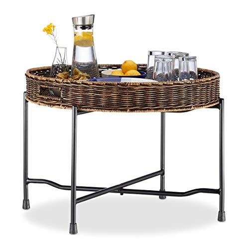 - Relaxdays Rattan Serving Table, Round Tray, Wicker Look, Folding Metal Frame, HxD: 47x66cm, Natural/Black