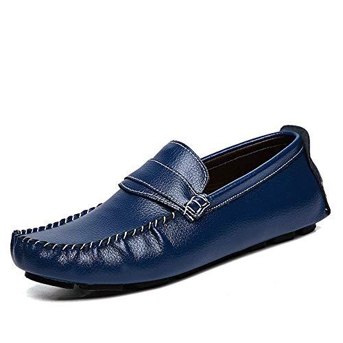 pelle Uomo shoes traspiranti vera Scarpe 43 mocassini in da da Xiaojuan Dimensione Pelle uomo Mocassini Blu confortevoli casual barca e Color Nero EU OqddZ8