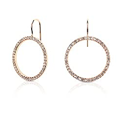 Gold Plated Hoop Earrings With Clear Studs