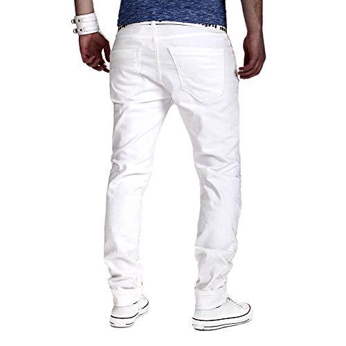 Fit Zip Holywin Biker Con Strappato Bianco Destroyed Nastrati Skinny Stretchy Slim Jeans Uomo 4rvIB84