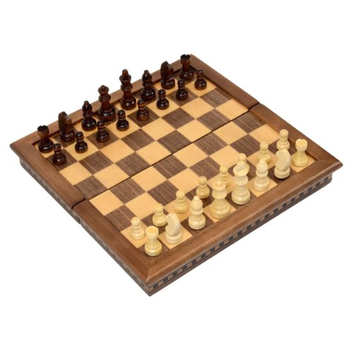 Wholesale Chess 10'' Compact Travel Folding Magnetic Wood Chess Set - Walnut Finish by Wholesale Chess