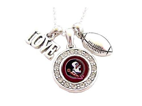 Sports Accessory Store Florida State Seminoles FSU Multi Charm Love Football Maroon Necklace Jewelry (Logo State Charm Seminoles Florida)