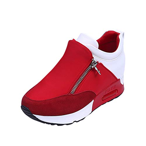 (Sharemen Womens Hidden Wedges High Top Sneakers Increase Shoes Red)