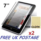 """2x Universal Android Windows Tablet PC Screen Protector Cover Shield + Free Cloths 2 Pack (7"""" inch)"""