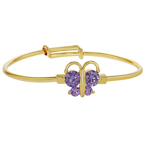 Crystal Butterfly Bracelet (18k Gold Plated Purple Crystal Butterfly Adjustable Bangle Baby Girls)
