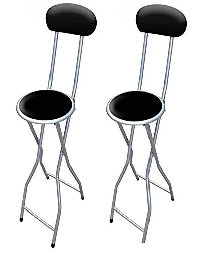 E Bargains UK Set of 2 Colourful Folding Breakfast Padded Bar Chair Stool Kitchen Party Office Stool Seat Black