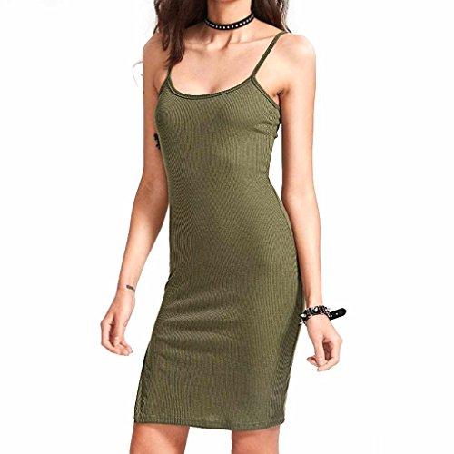 QHGstore Vestido sin mangas atractivo de la playa del color sólido de la rebeca del Bodycon de las mujeres ejercito verde