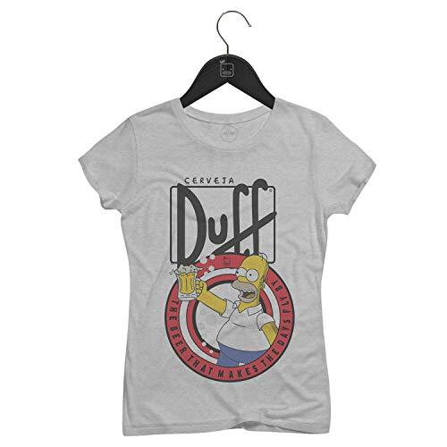 Camiseta Feminina Homer Simpson, Cerveja Duff | Cinza - M