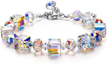 """LADY COLOUR """"A Little Romance"""" Bracelets for Women Made with Northern Lights Crystals, Jewelry Box Included for Gifts"""