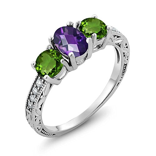 Gem Stone King 1.87 Ct Oval Checkerboard Purple Amethyst Green Chrome Diopside 925 Sterling Silver Ring (Size 8) ()