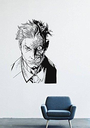 [Wall Decals Decor Viny Batman Costume Mask Two-faced Costume Tie Man Super-Villain GMO0493] (Easy Male Villain Costumes)