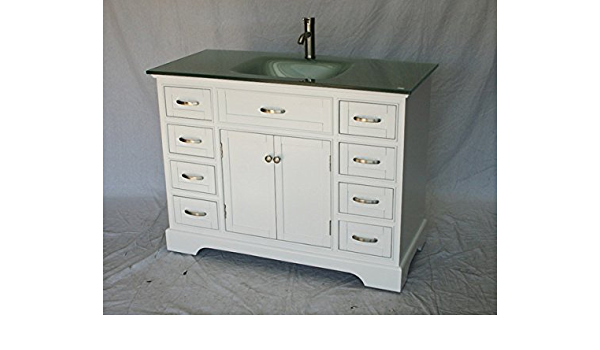 46 Inch White Wood Single Sink Bathroom Vanity With Sand Blasted Glass Top And Sink Amazon Com