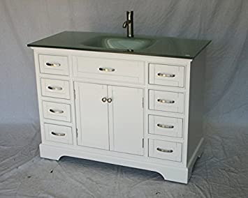 Amazon Com 46 Inch White Wood Single Sink Bathroom Vanity