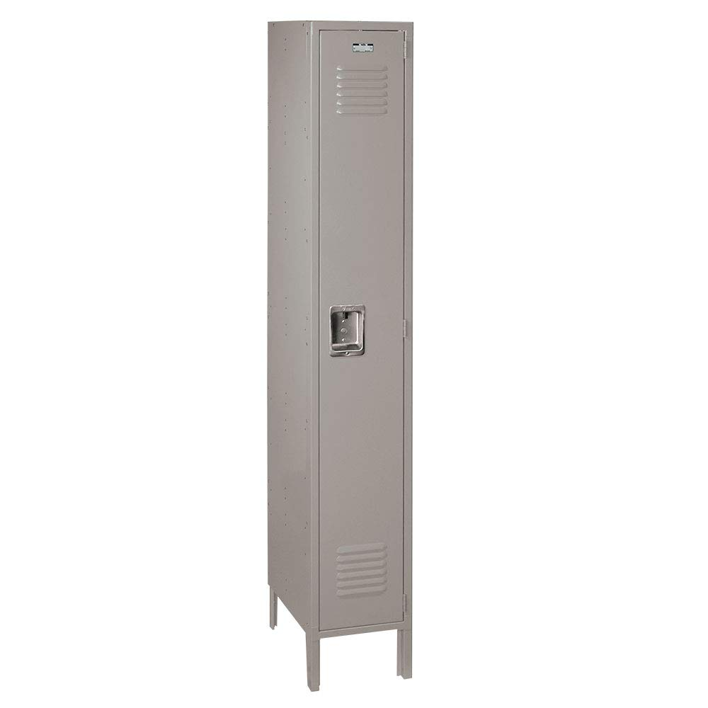ValTec Single Tier 1 Wide 15'' W x 18'' D x 78'' H Unassembled Metal Locker DDVT51081-1 Door - Dove Gray - Steel Construction - Free Number Plates!