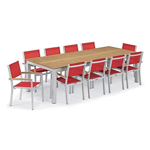 (Oxford Garden Travira 11 Piece Aluminum Patio Dining Set W/ 103 X 42 Inch Rectangular Tekwood Natural Table Red Sling)