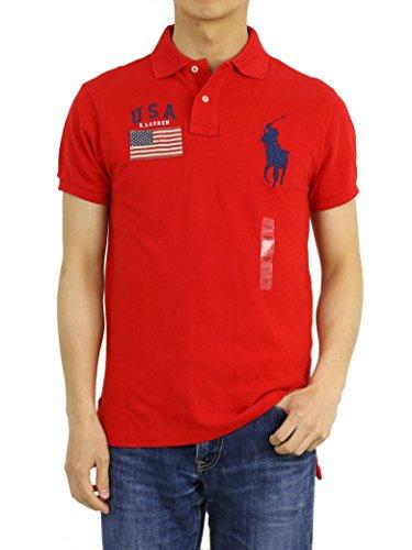 Flag Cotton Rugby Shirt - Ralph Lauren Men Custom Fit Short Sleeve USA Flag Polo Shirt (Small, Red)