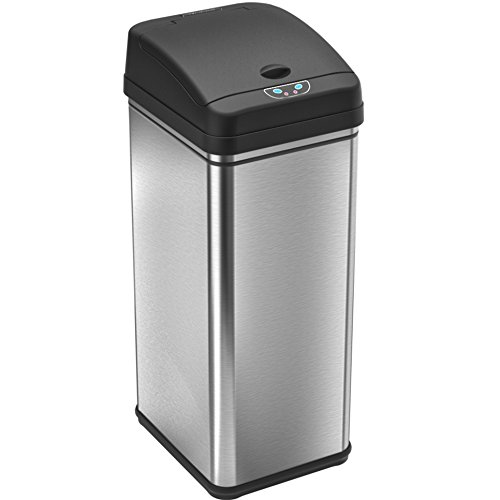 iTouchless 13 Gallon Stainless Steel Automatic Trash Can with Odor Control System, Big Lid Opening Sensor Touchless Kitchen Trash Bin (Base Version - No AC Adapter) by iTouchless