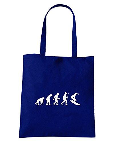 T-Shirtshock - Bolsa para la compra EVO0056 Surfing Evolution Humor Maglietta Azul Marino