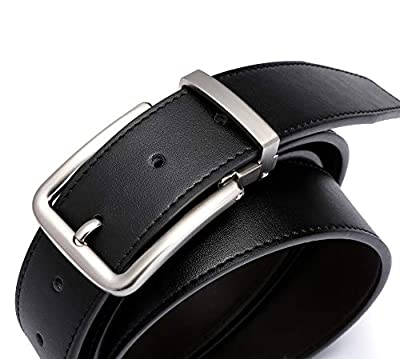 Men's Genuine Leather Belt for Casual Dress and Jeans, Reversible Leather Strap