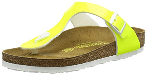 Birkenstock womens Gizeh in Patent Neon Yellow from Birko-Flor Thong 39.0 EU W (Footwear Patent Yellow)