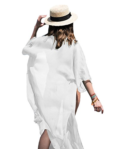 Bestyou Women's Beach Cover up Tunic Solid Maxi Dress Kimono Cardigan XS-M (B-White)