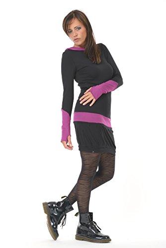 pu con In larga os y manga Made Fuchsia capucha vestido verano de Black de 3elfen Vestidos Berlin ngqO8AxT