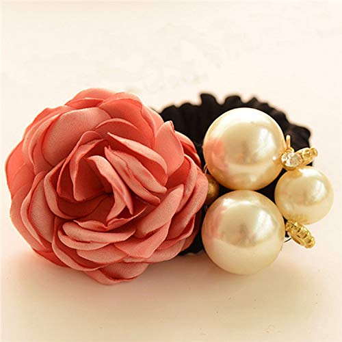 Women Elastic Hair Bands Hair Accessories Big Flower Hair Rope Rhinestones Imitation Pearls Charms Rubber Band ()