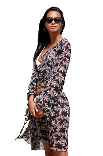 (Victoria's Secret Chiffon Duster West Side Floral Kimono Robe Dress M/L)