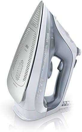 Braun SI 7088GY TexStyle 7 Steam Iron with 3D easy glide soleplate, 3 steam options, auto shut off, anti drip system and self cleaning, 2.5m cord - Grey & white