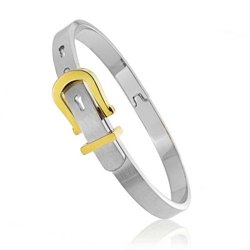 Bling Jewelry Gold Plated Steel Belt Buckle Bangle Stackable Bracelet Belt Buckle Bangle Bracelet