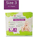 Happy Little Camper Ultra Absorbent Hypoallergenic Natural Diapers, Size 3 (16-28 lbs), 217 Count, Monthly Supply Bulk Pack