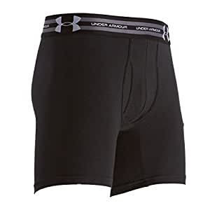 Under Armour Men's Charged Cotton® 6' Boxerjock® Boxer Briefs (Small, Black/Steel/Black)