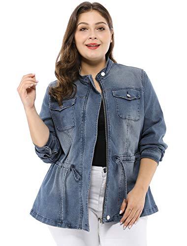 Agnes Orinda Women's Plus Size Stand Collar Zip Closure Drawstring Denim Jacket 2X Blue
