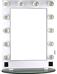 Hiker 12 Dimmer Light Piece Body and Glass Base Hollywood Vanity Makeup Wall Mount Mirror Table Top, White