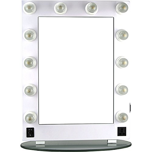 Hiker 12 Dimmer Light Piece Body and Glass Base Hollywood Vanity Makeup Wall Mount Mirror Table Top, White -