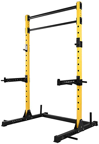HulkFit Multi-Function Adjustable Power Rack Exercise Squat Stand with J-Hooks, Spotter Arms Dip Bars and Pull Up Bars, 800-Pound Capacity ()
