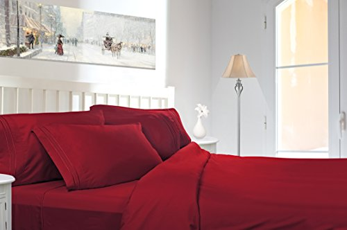 Clara Clark Premier 1800 Collection 6pc Bed Sheet Set with Extra Pillowcases - King, Burgundy Red (Premiere Product Set Mattress)
