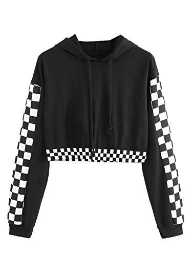 MAKEMECHIC Women's Pineapple Embroidered Hoodie Plaid Crop Top Sweatshirt Black-3 S