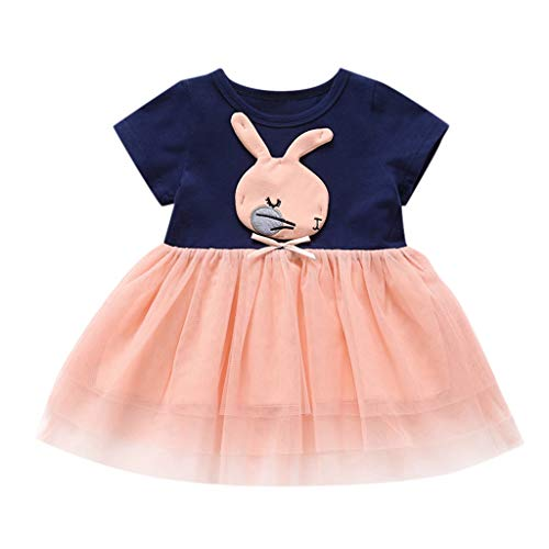 Sunhusing Toddler Infant Solid Color Short-Sleeve T-Shirt Cartoon Rabbit Embroidery Tulle Stitching Dress Pink