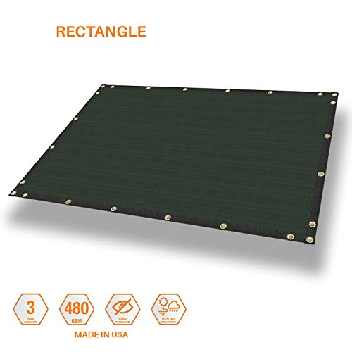 Sunshades Depot Waterproof Cover for Pergola Gazebo Carport Awning Tarp Shade Cloth Rectangle Shade Sail Straight Edge with Grommets for Porch Patio Deck Yard 480GSM 4' x 9' Green