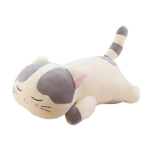 Ins Lovely Cartoon Cute Cat Stuffed Animals 3D Pom Plush Lumbar Soft Big Hugging Figure Bolster Bed Cushion Nursery Home Office Decoration Baby Play Toy Sleeping Throw Pillow Gift Gray Brown by ORGEN HOME